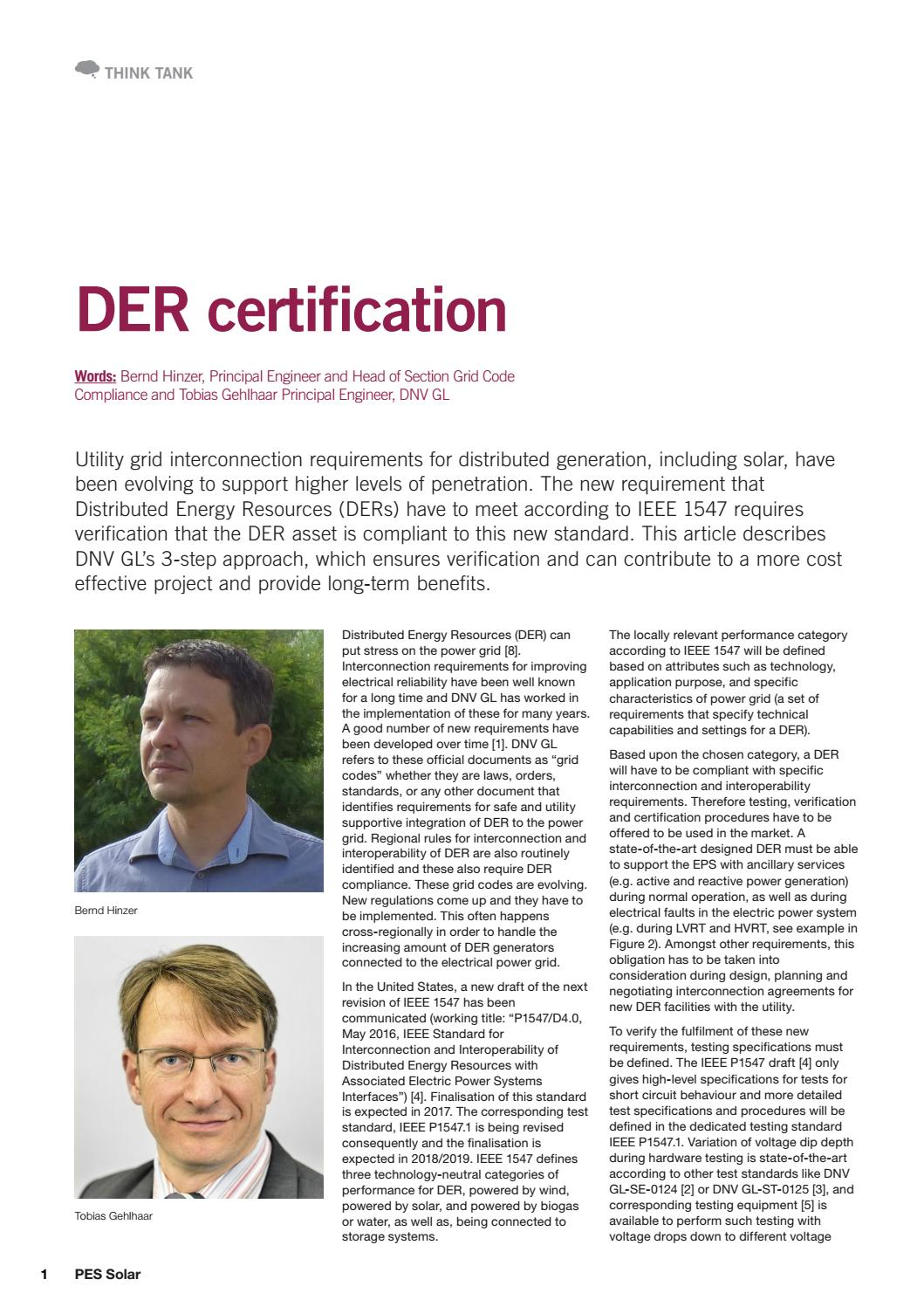 Pes Solar Der Certification Bylined Article 9 August 2016 By Dnv