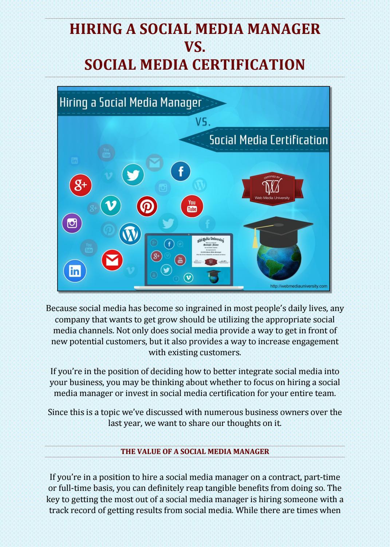 Hiring A Social Media Manager Vs Social Media Certification By