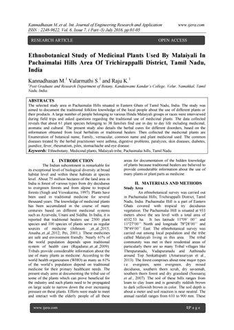 ETHNOBOTANY OF GINGEE HILLS, VILLUPURAM DISTRICT, TAMIL NADU, INDIA