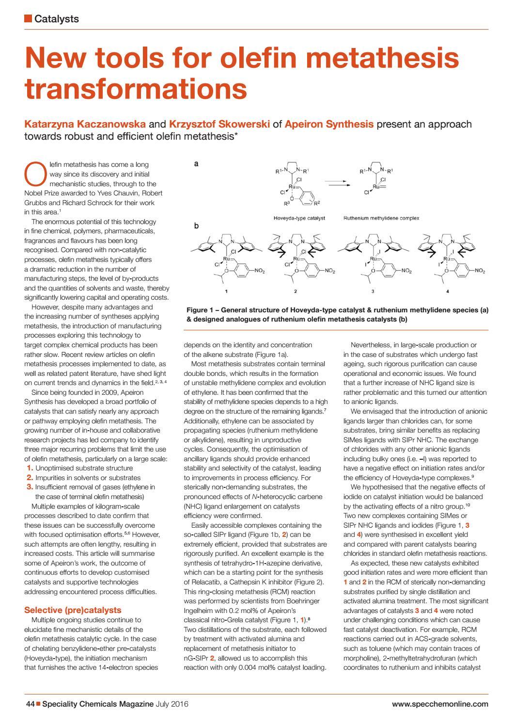 olefin metathesis industry