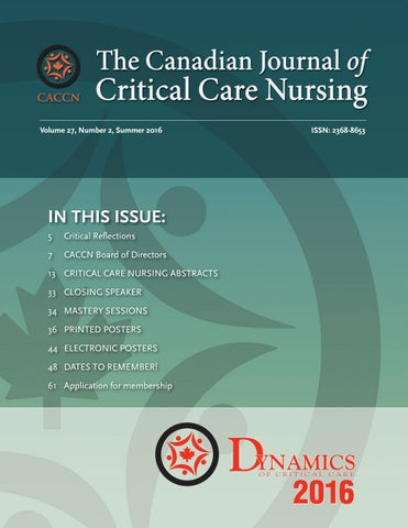 The Canadian Journal of Critical Care Nursing, Volume 27