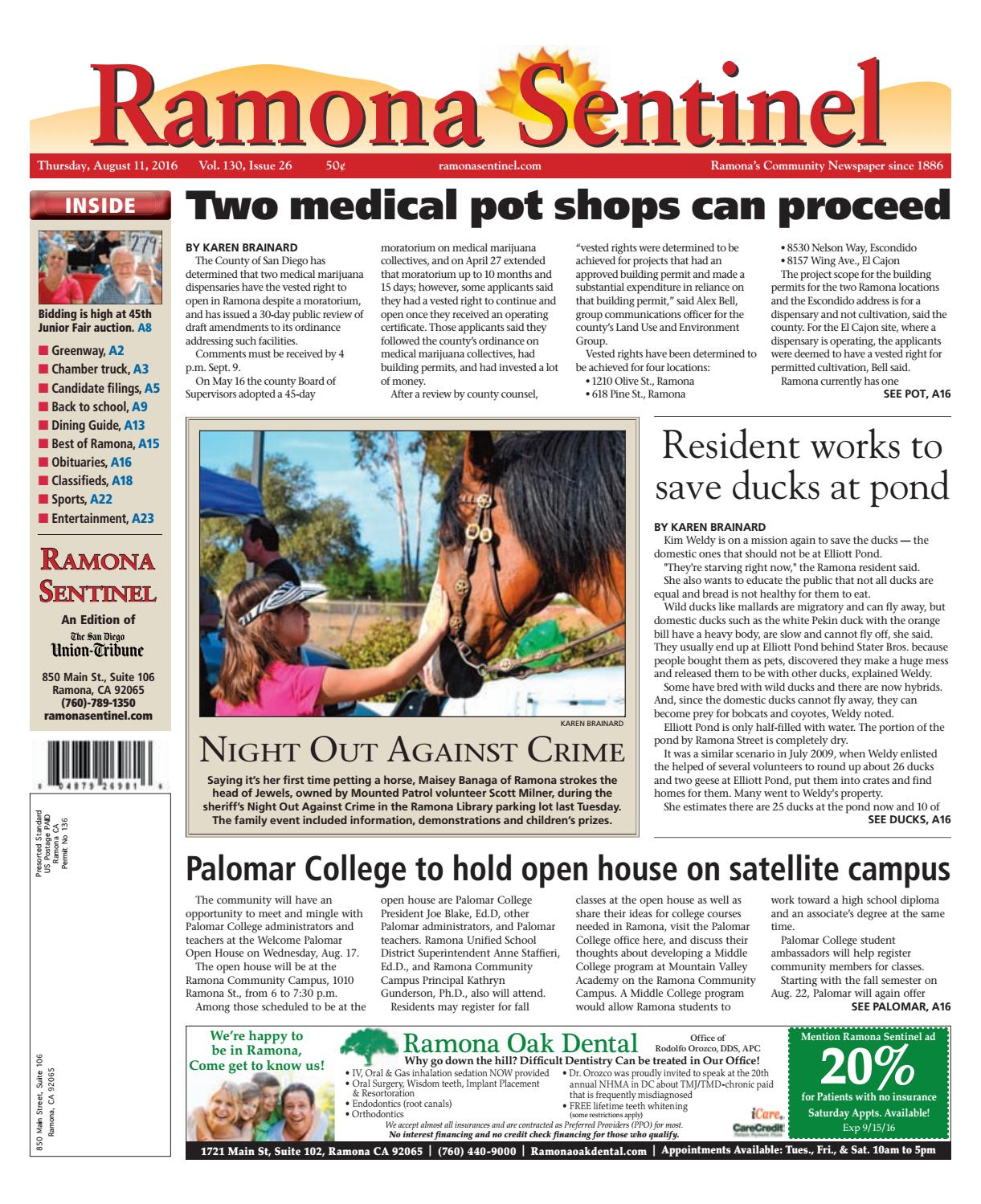Ramona sentinel 08 11 16 by MainStreet Media - issuu