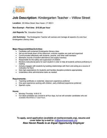 job-description-kindergarten-teacher-willow by New Haven Reads - issuu