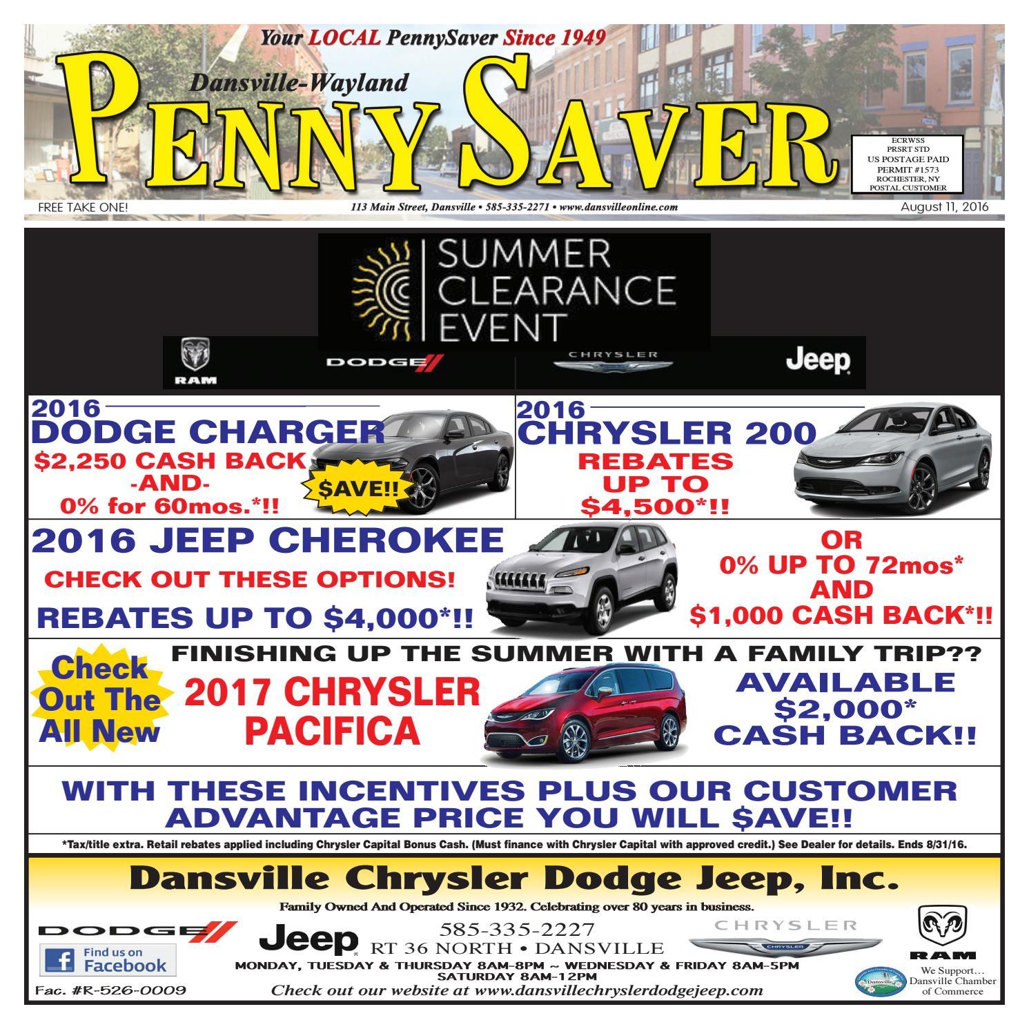 Chrysler Capital Finance >> August 11 2016 Dansville Wayland Pennysaver By Melissa