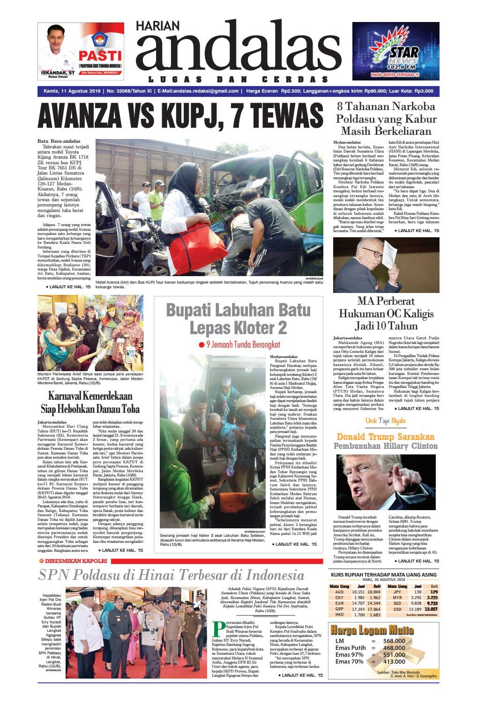 Epaper Andalas Edisi Kamis 11 Agustus 2016 By Media Andalas