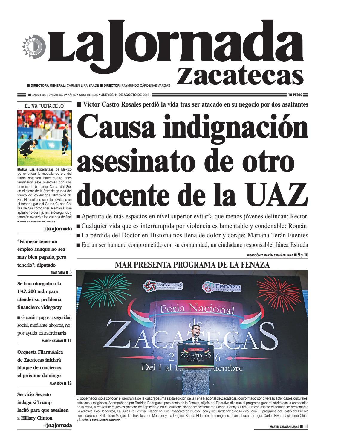 La Jornada Zacatecas Jueves 11 De Agosto Del 2016 By La Jornada  # Muebles Tumoine