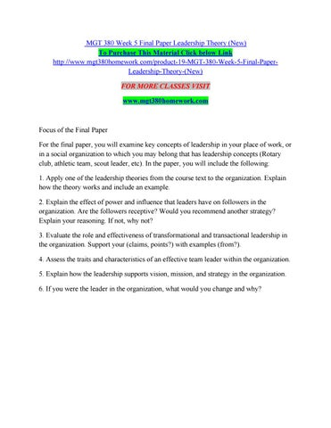 Mgt 380 week 5 final paper leadership theory (new) by
