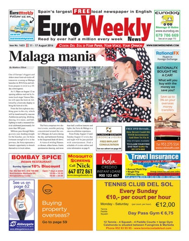 Euro weekly news costa del sol 11 17 august 2016 issue 1623 by page 1 fandeluxe Gallery