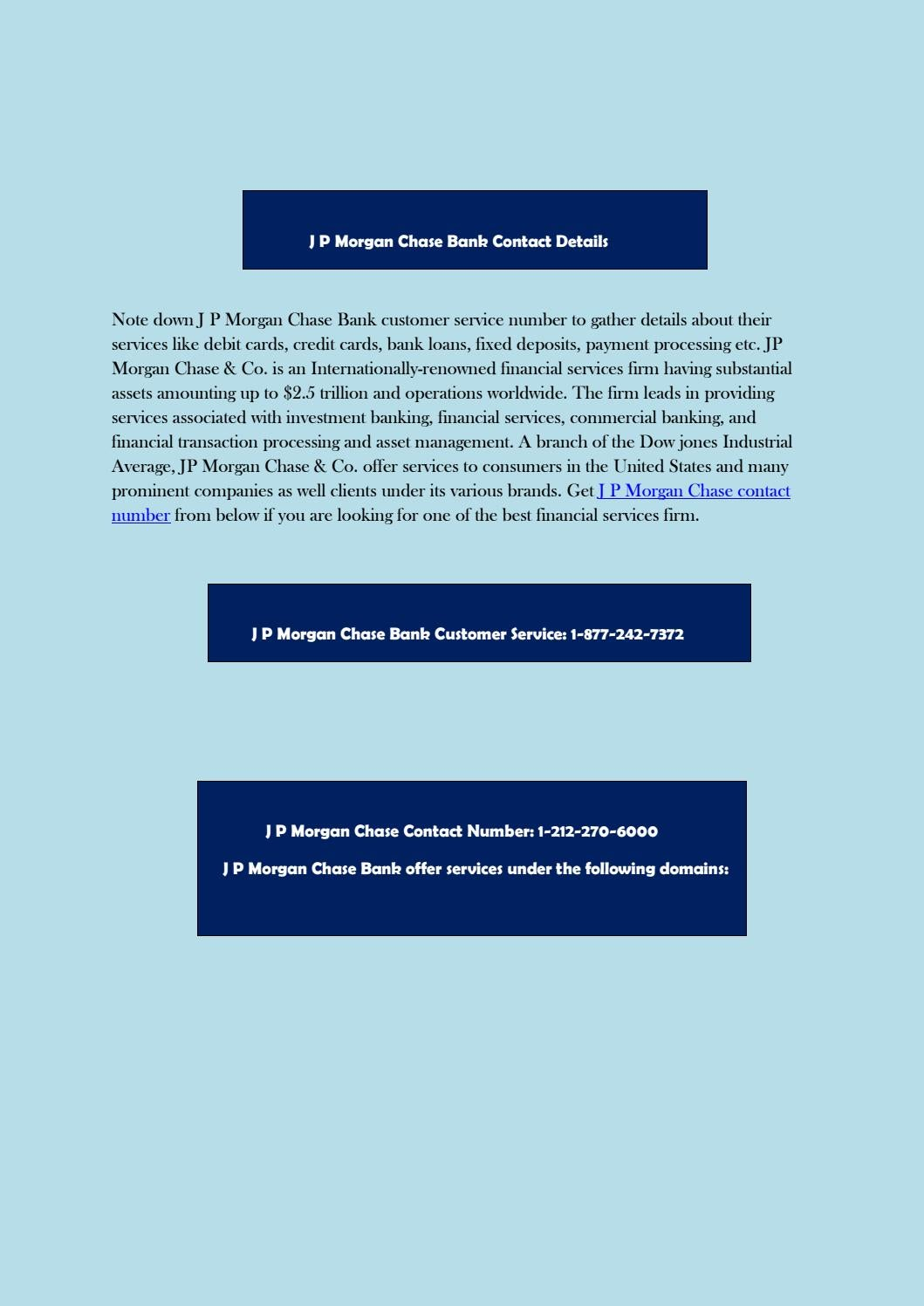 J P Morgan Chase Bank Contact Details by customernumber - issuu