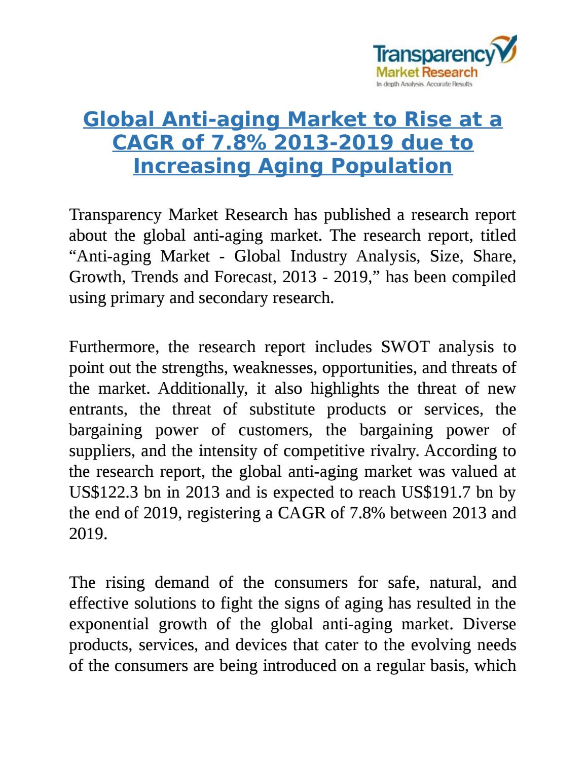 Global Anti-aging Market to be Worth US$191 7 Billion in