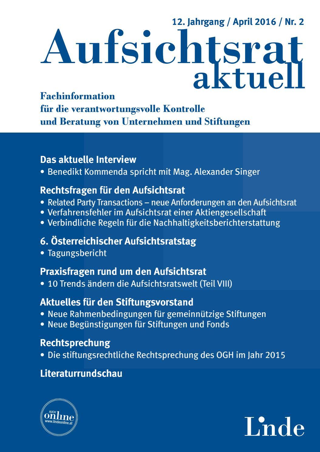 Aufsichtsrat Heft 2 2016 By Linde Verlag Gmbh Issuu
