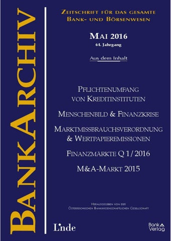 Bankarchiv Heft 52016 By Linde Verlag Gmbh Issuu