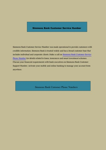 Simmons bank customer service number by customernumber - issuu