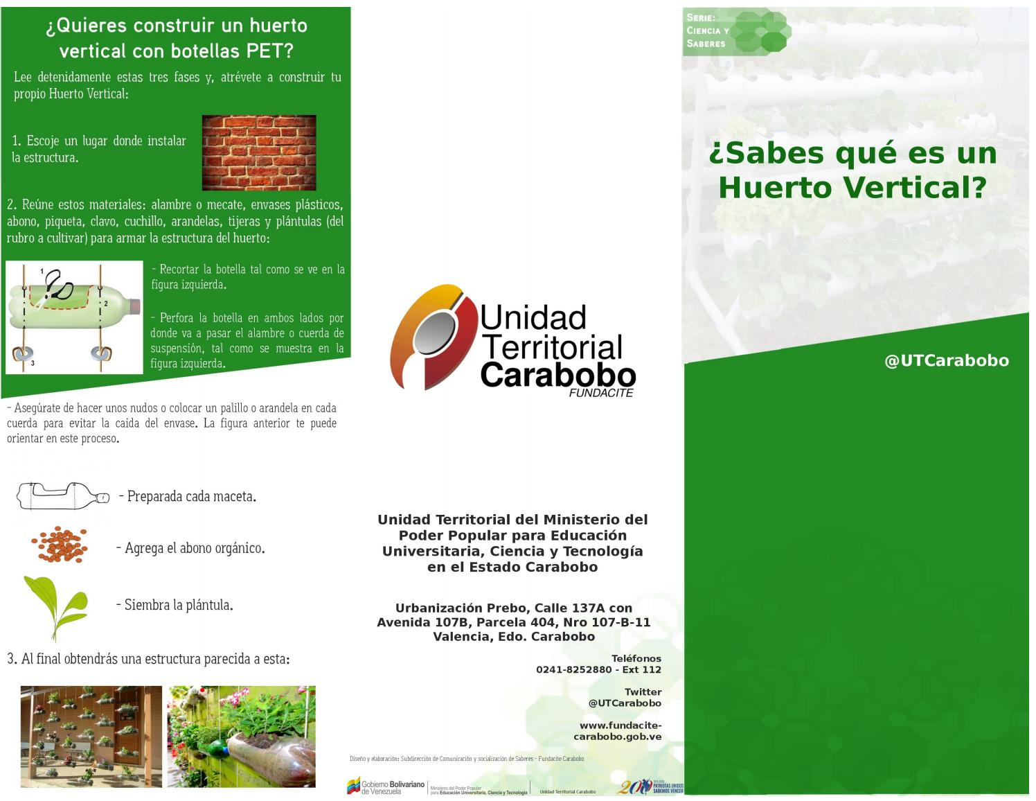 Tr ptico huerto vertical a o 2016 by fundacite carabobo for Como se realiza un huerto vertical