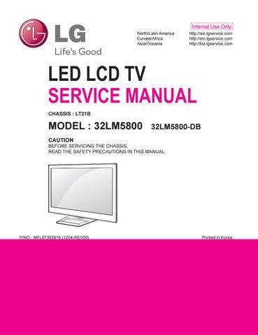 Manual de serviço do televisor de LED marca LG modelo 32LM5800-DB