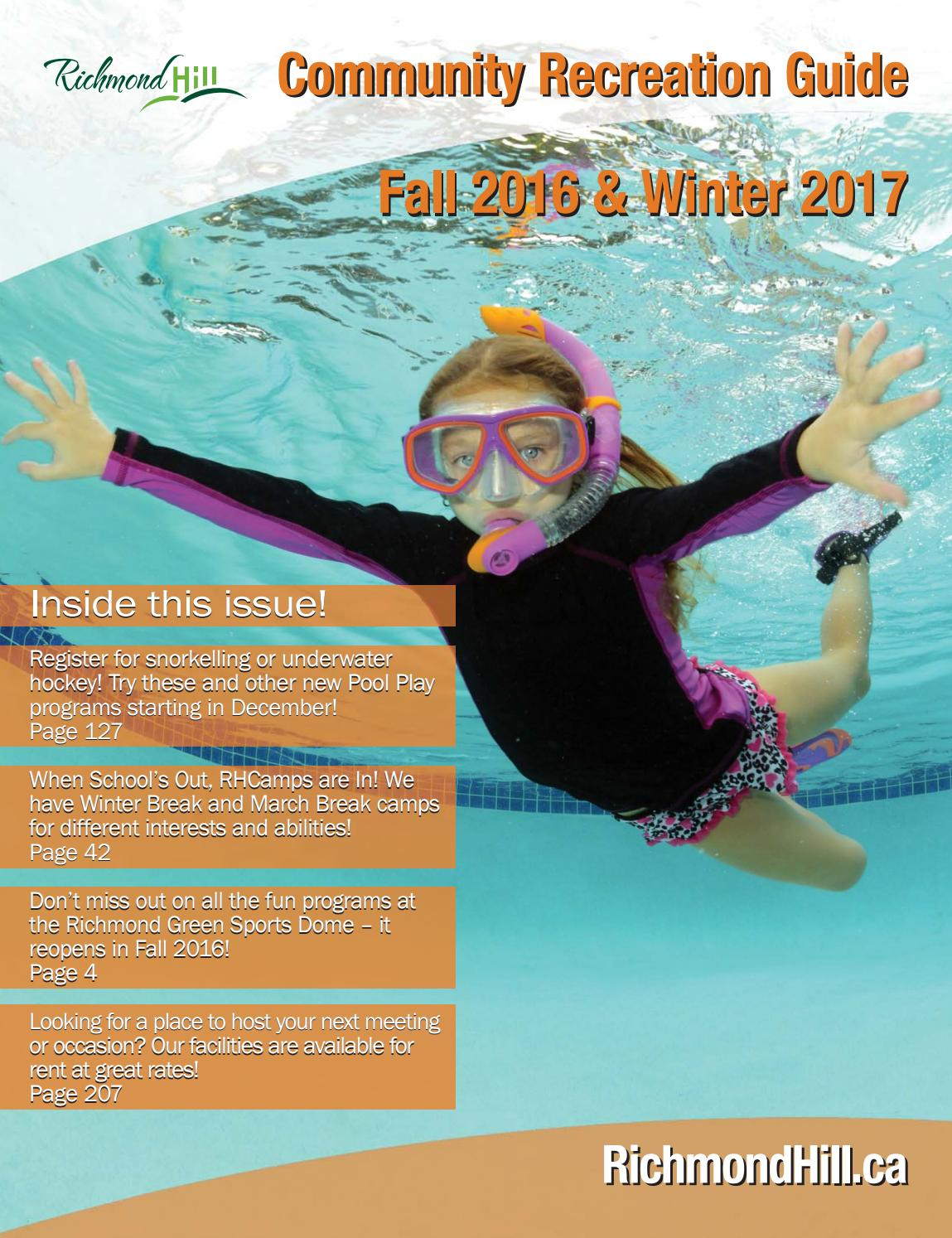 Richmond Hill Community Recreation Guide - Fall 2016 and Winter 2017 ...