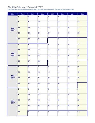 Calendario Semanal.Calendario Semanal 2017 By Melissa Mendez Issuu
