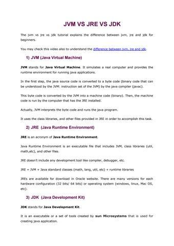 Jvm vs jre vs jdk by How To Program in JAVA - issuu