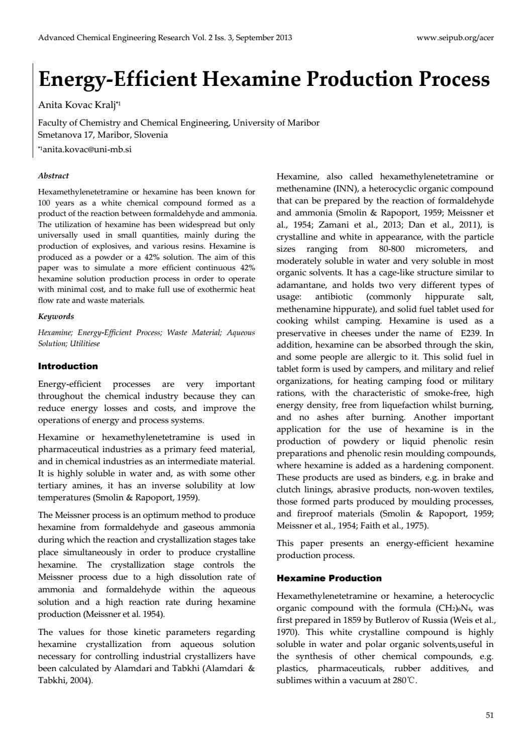 Energy-Efficient Hexamine Production Process by Co  SEP - issuu