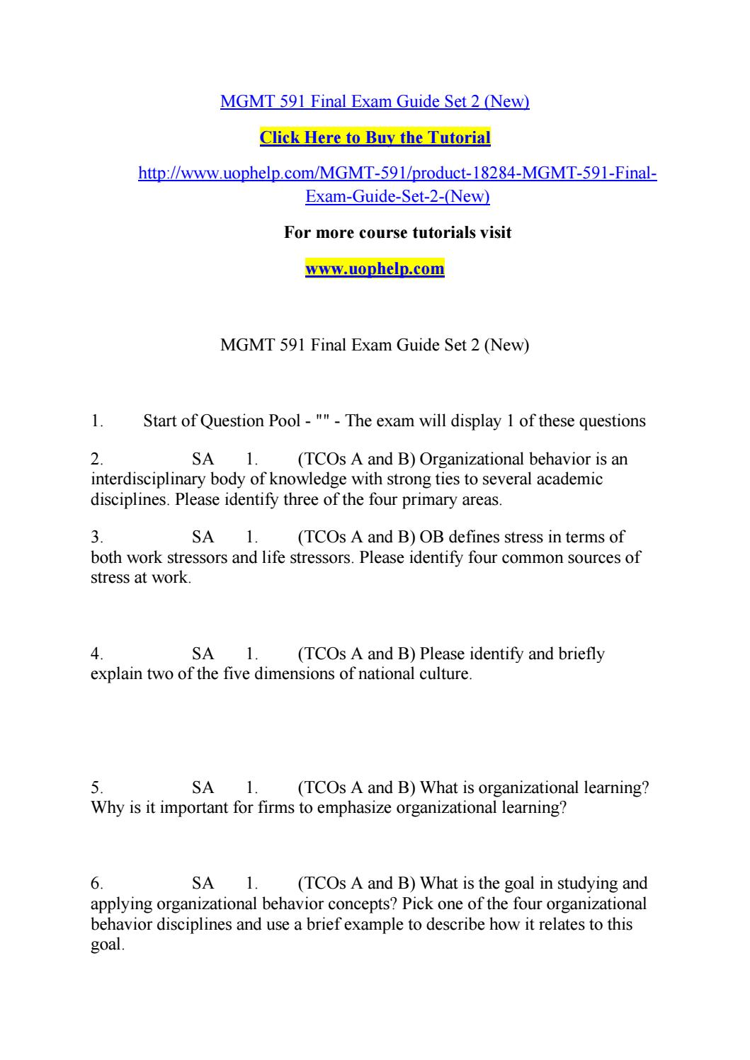 Mgmt 591 final exam questions | Term paper - June 2019 - 2835 words