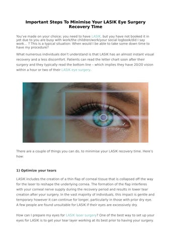 Important Steps To Minimise Your Lasik Eye Surgery Recovery Time By