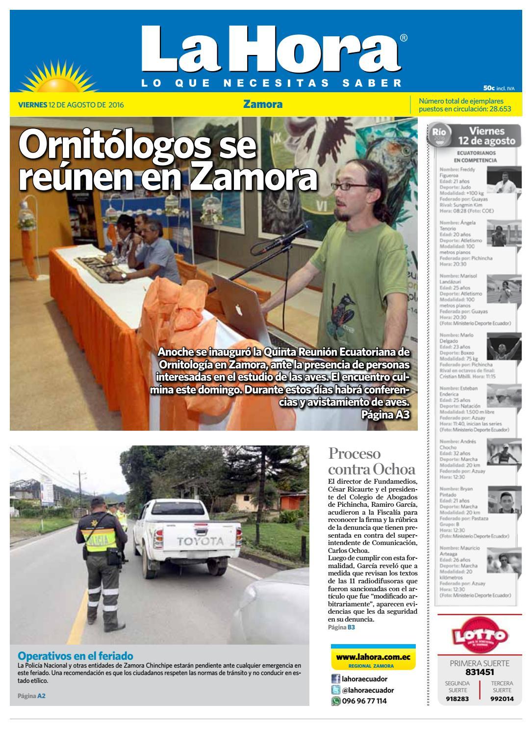 408939b692e0d Diario La Hora Zamora 12 de Agosto 2016 by Diario La Hora Ecuador - issuu