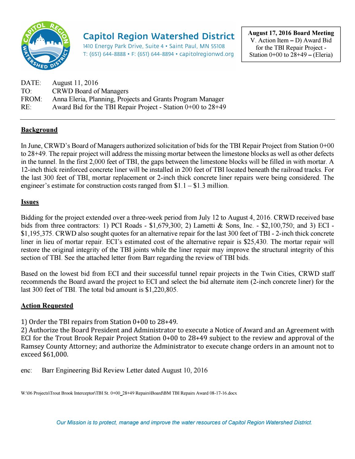 August 17 2016 Board Packet By Capitol Region Watershed District