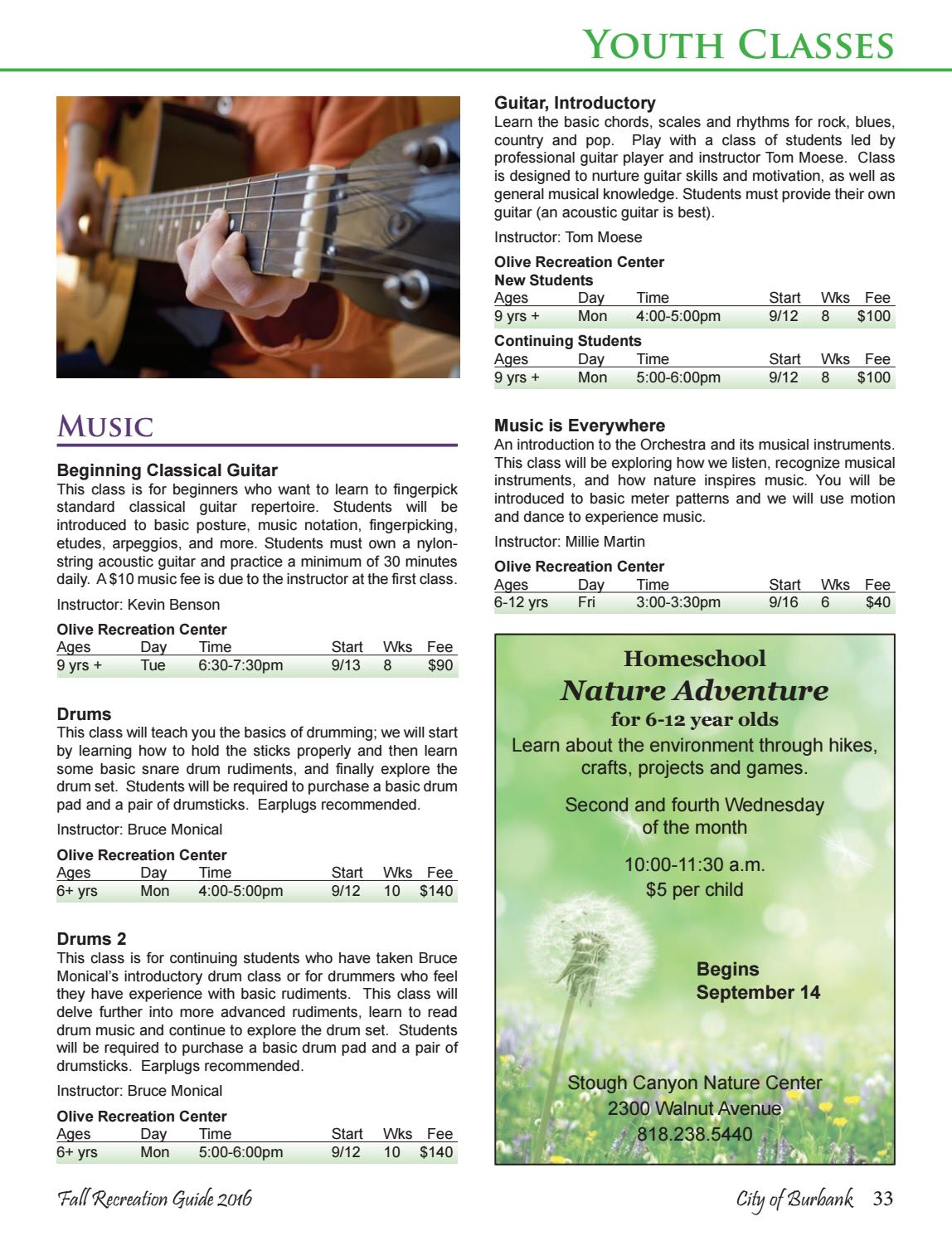 Burbank Recreation Guide Fall 2016 by Burbank Parks and