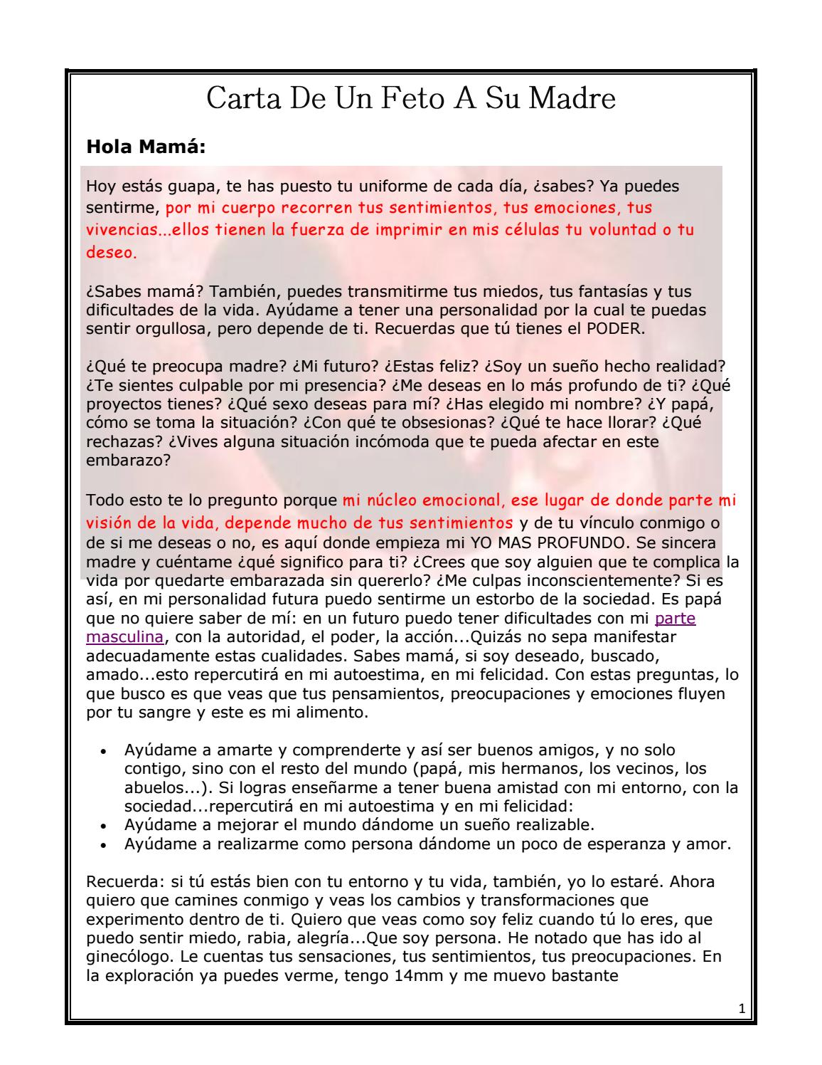 Carta De Un Feto A Su Madre By Hortencia Issuu
