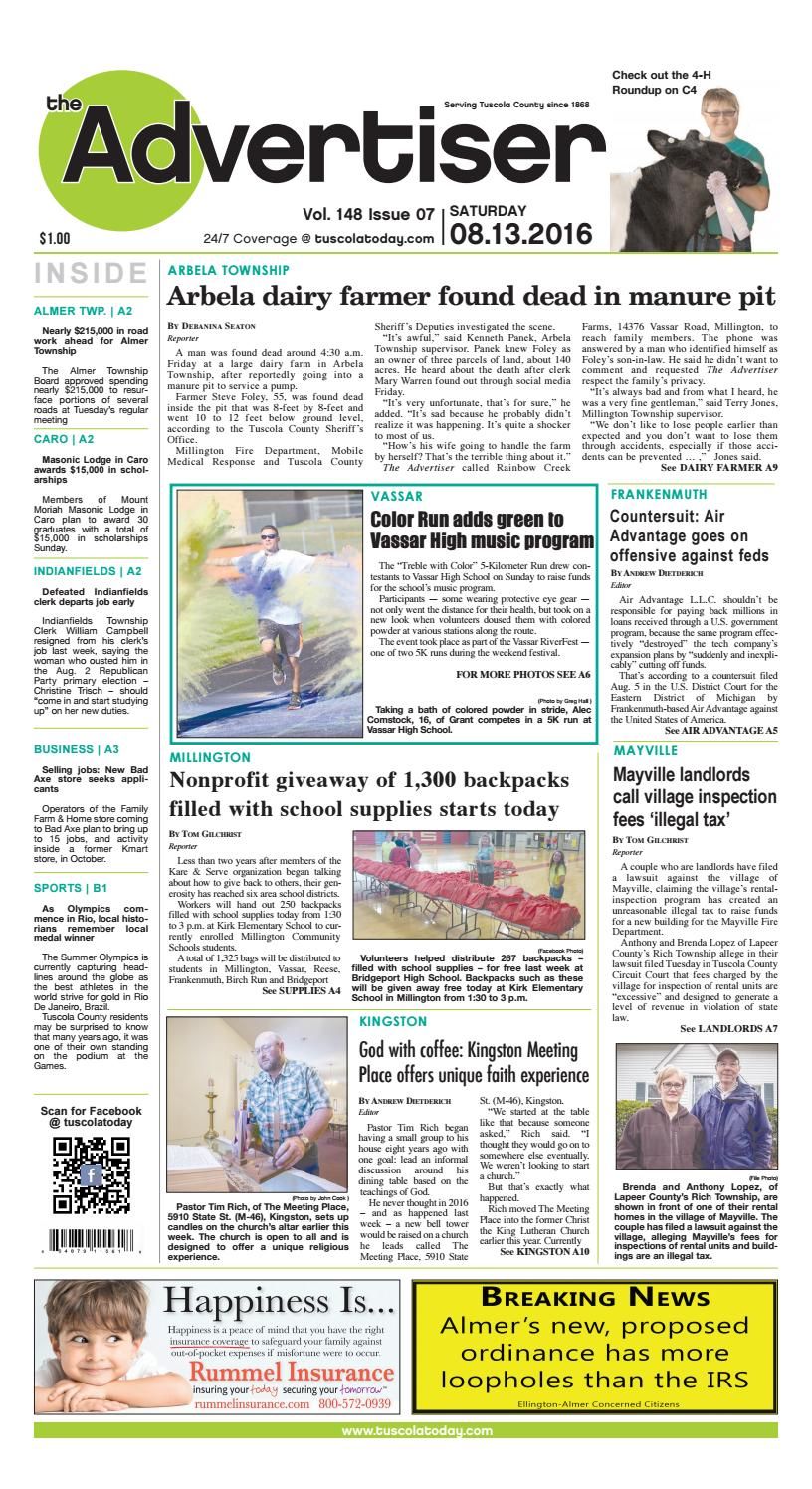 Tca 8 13 16 all pages by Tuscola County Advertiser - issuu