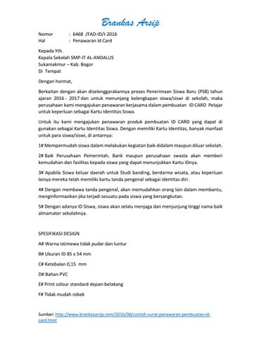 Surat Penawaran Jasa Pembuatan Id Card Brankasarsipcom By