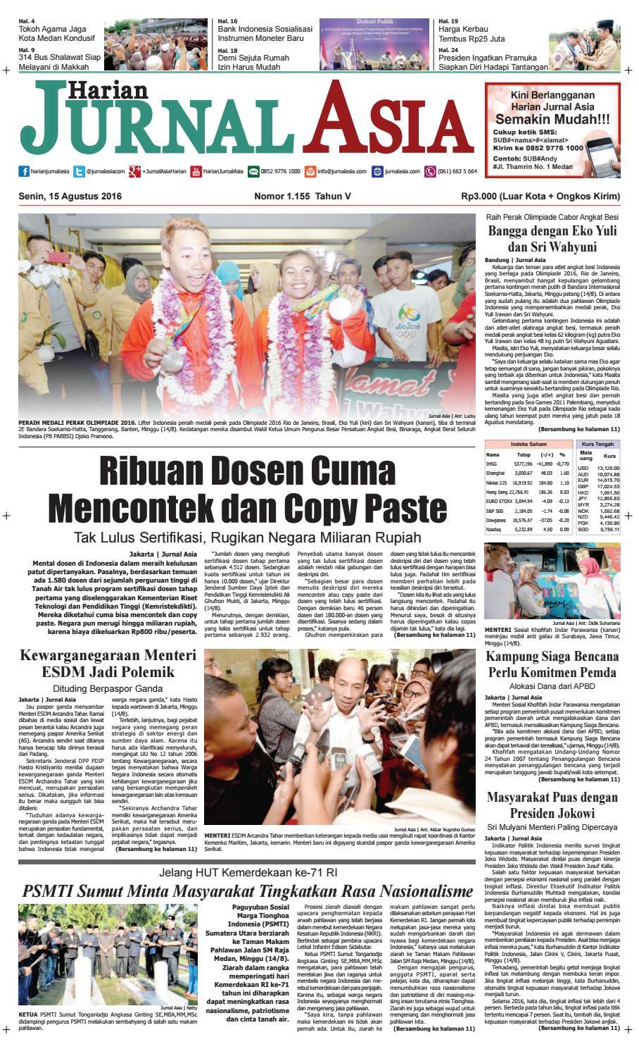 Harian Jurnal Asia Edisi Senin 15 Agustus 2016 By Produk Ukm Bumn Jamu Instan Abah Aromahtrenggalek Medan Issuu