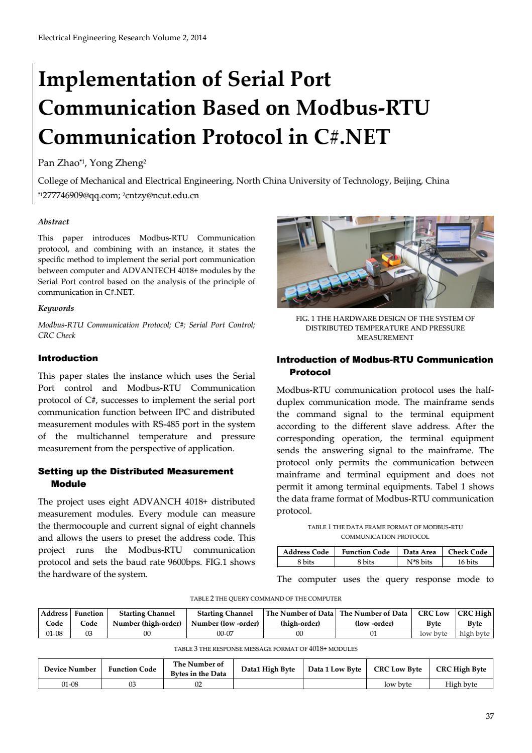 Implementation of Serial Port Communication Based on Modbus