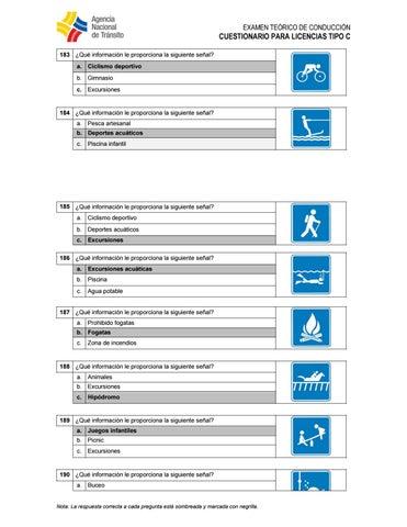 Cuestionario Para Licencia Tipo C By Apuntes Medicos Issuu