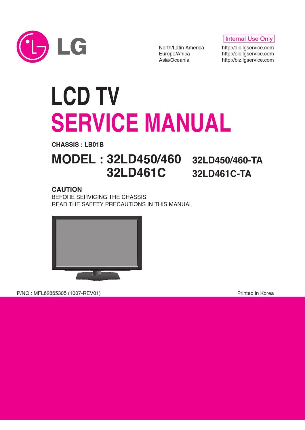 manual de servi o tv lg 32ld450 32ld460 e 32ld461c. Black Bedroom Furniture Sets. Home Design Ideas