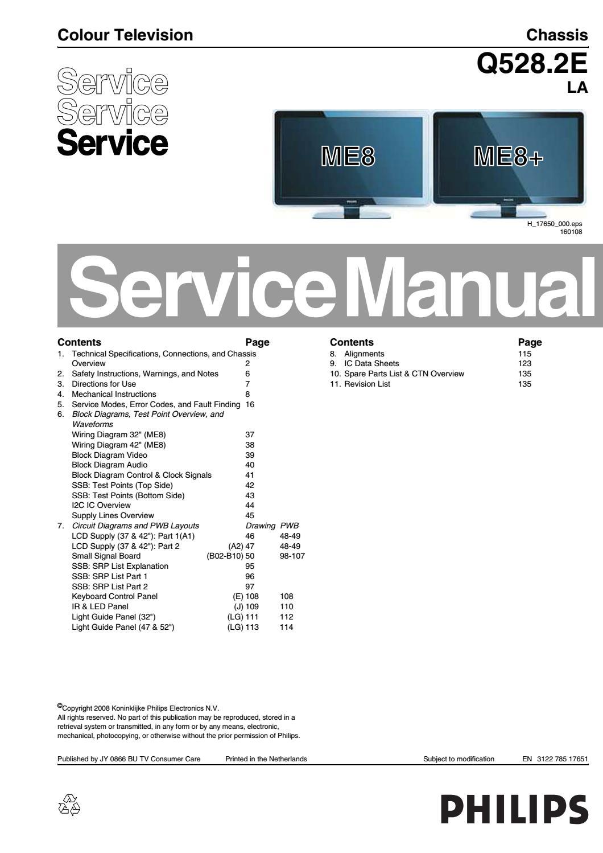 Manual de serviço tv philips 42pfl7603d 12 chis q528 2e ... on