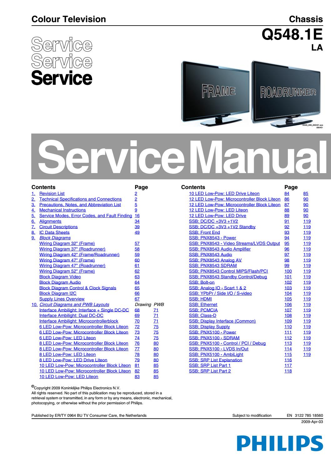 Philips Tv Wiring Diagram Schematics Cable Manual De Servio Tvs 32pfl7404h 12 42pfl7404h For To Box
