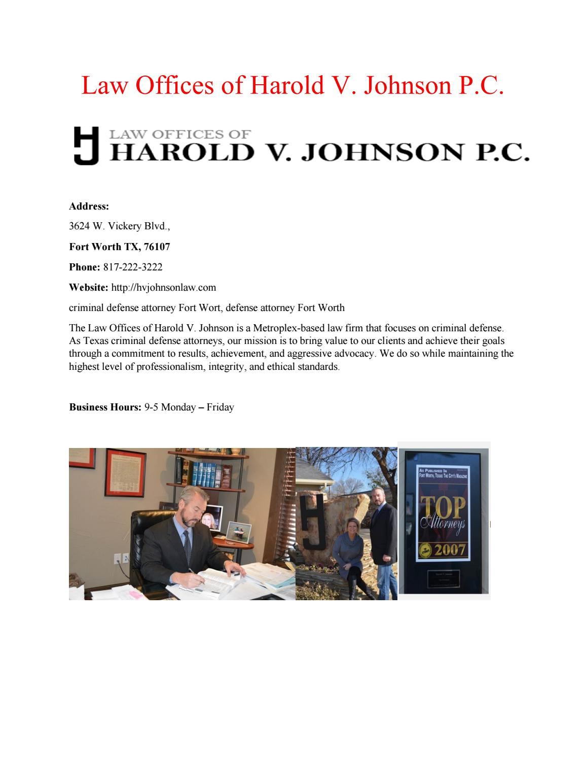 Law Offices of Harold V  Johnson P C  by Law Offices of