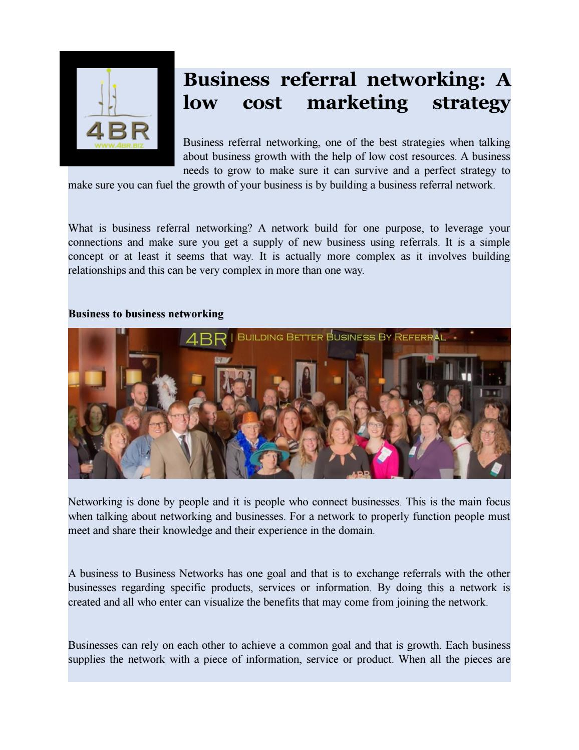 Business referral networking a low cost marketing strategy by 4BR