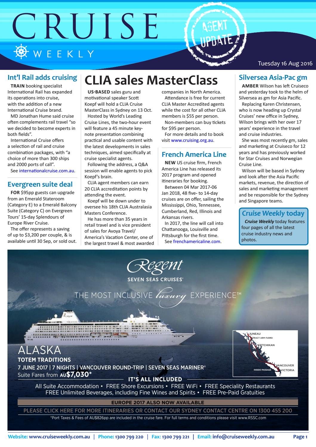 CW for Tue 16 Aug 2016 - CLIA MasterClass, Asia cruise growth, Royal  Caribbean, Silversea,