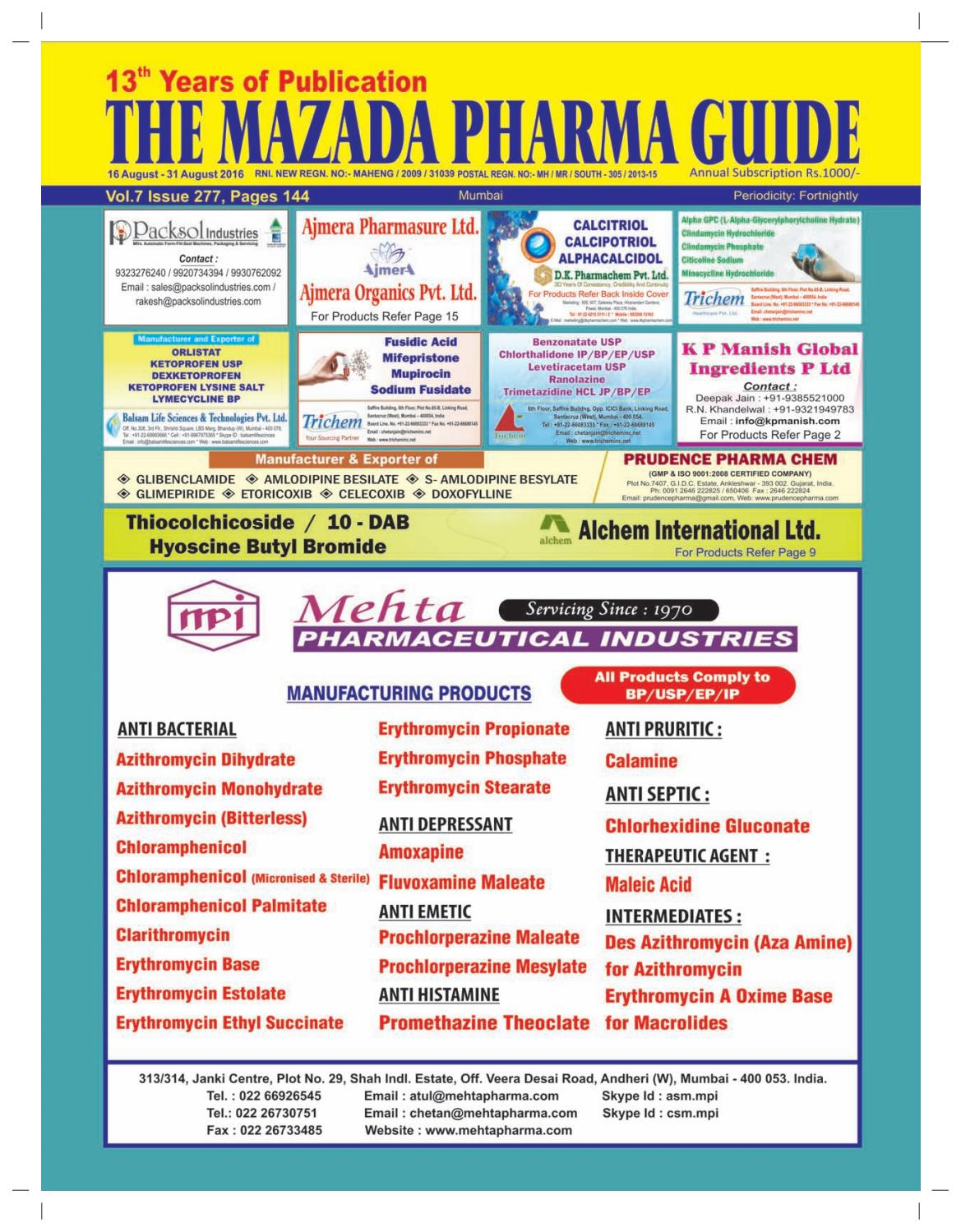 The Mazada Pharma Guide 16th to 31st August 2016 by The Mazada Pharma Guide  - issuu