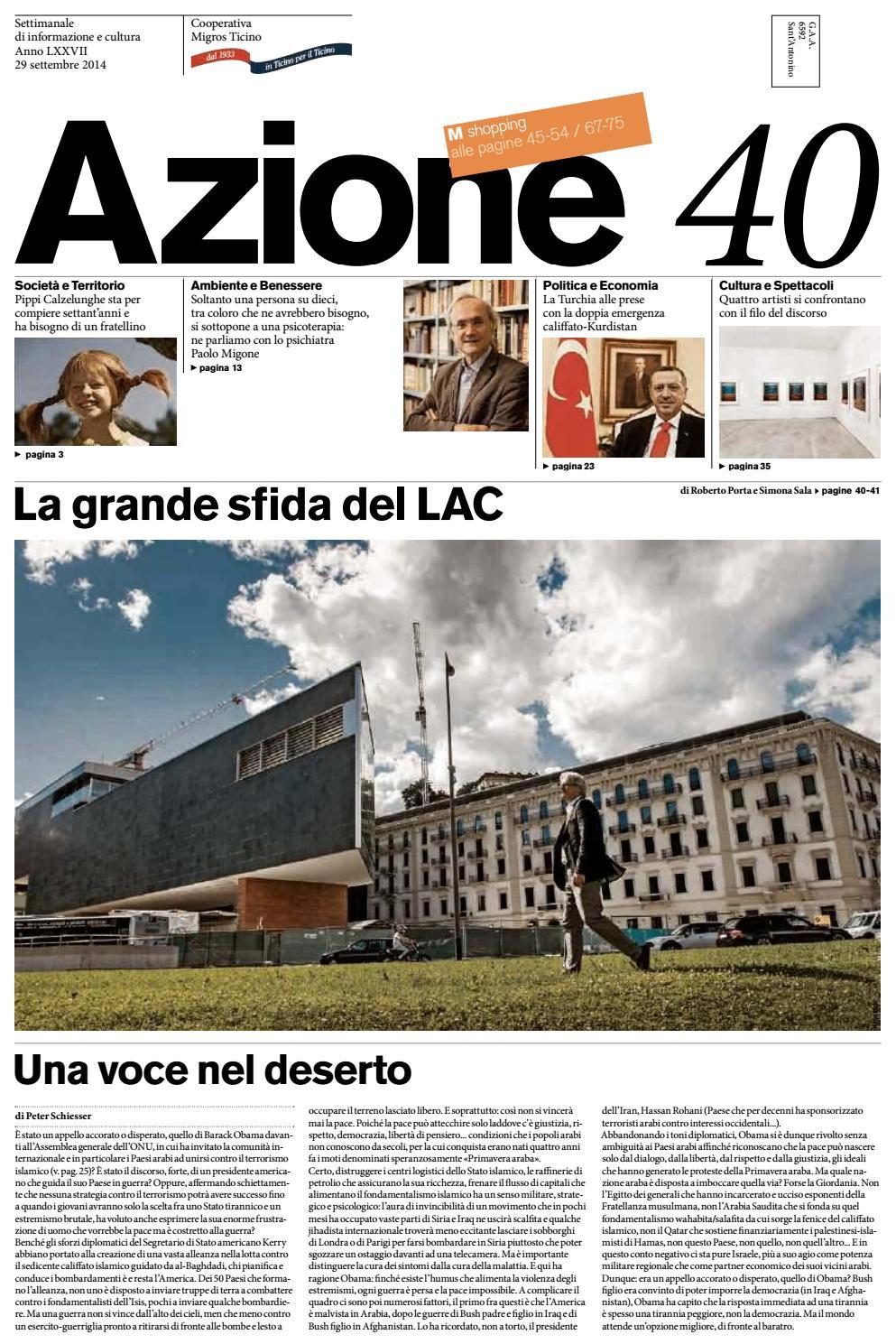 c332ef51ff Azione 40 del 29 settembre 2014 by Azione, Settimanale di Migros Ticino -  issuu