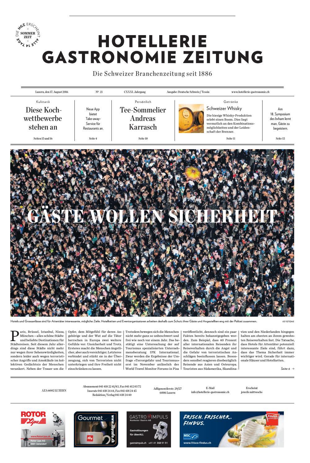 HG-Zeitung 21/2016 by Hotellerie_Gastronomie_Verlag - issuu