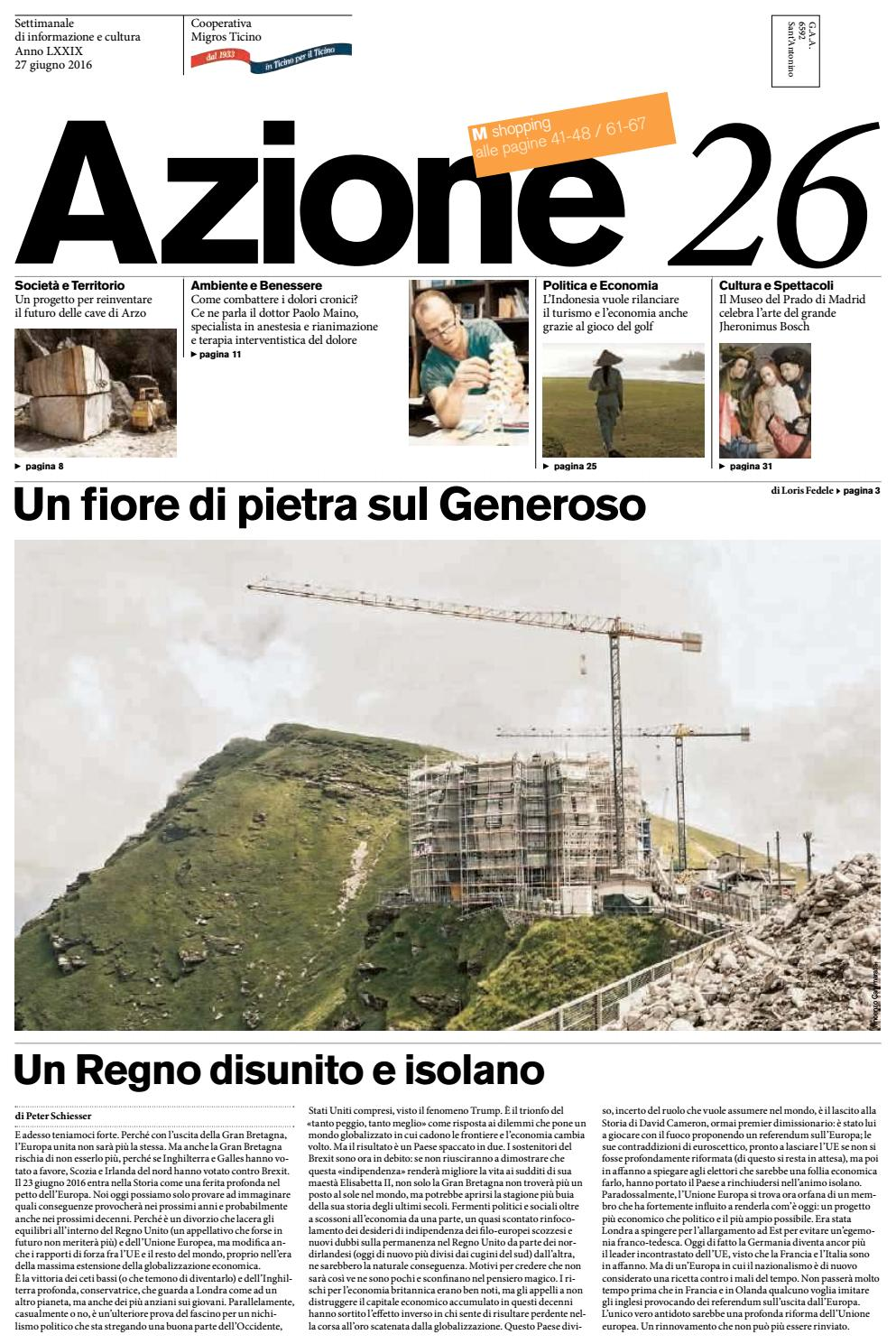 Azione 26 Del 27 Giugno 2016 By Azione Settimanale Di Migros Ticino