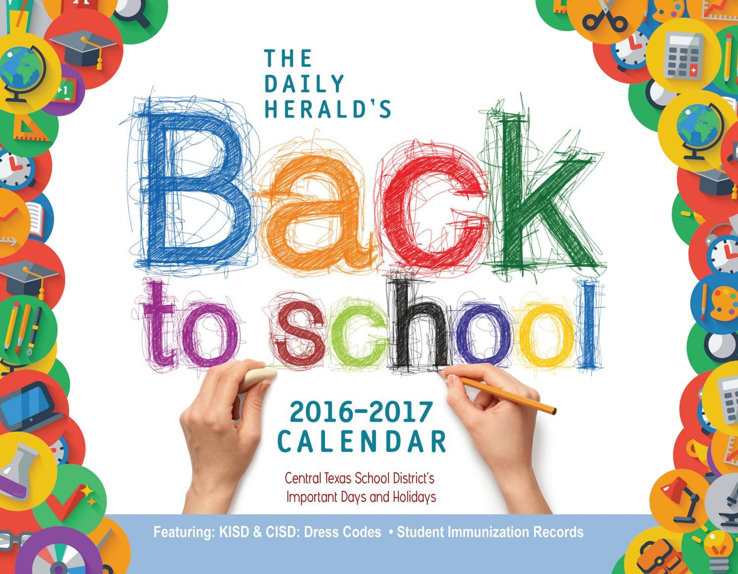 Back To School Calendar 2016 By Temple Daily Telegram Issuu