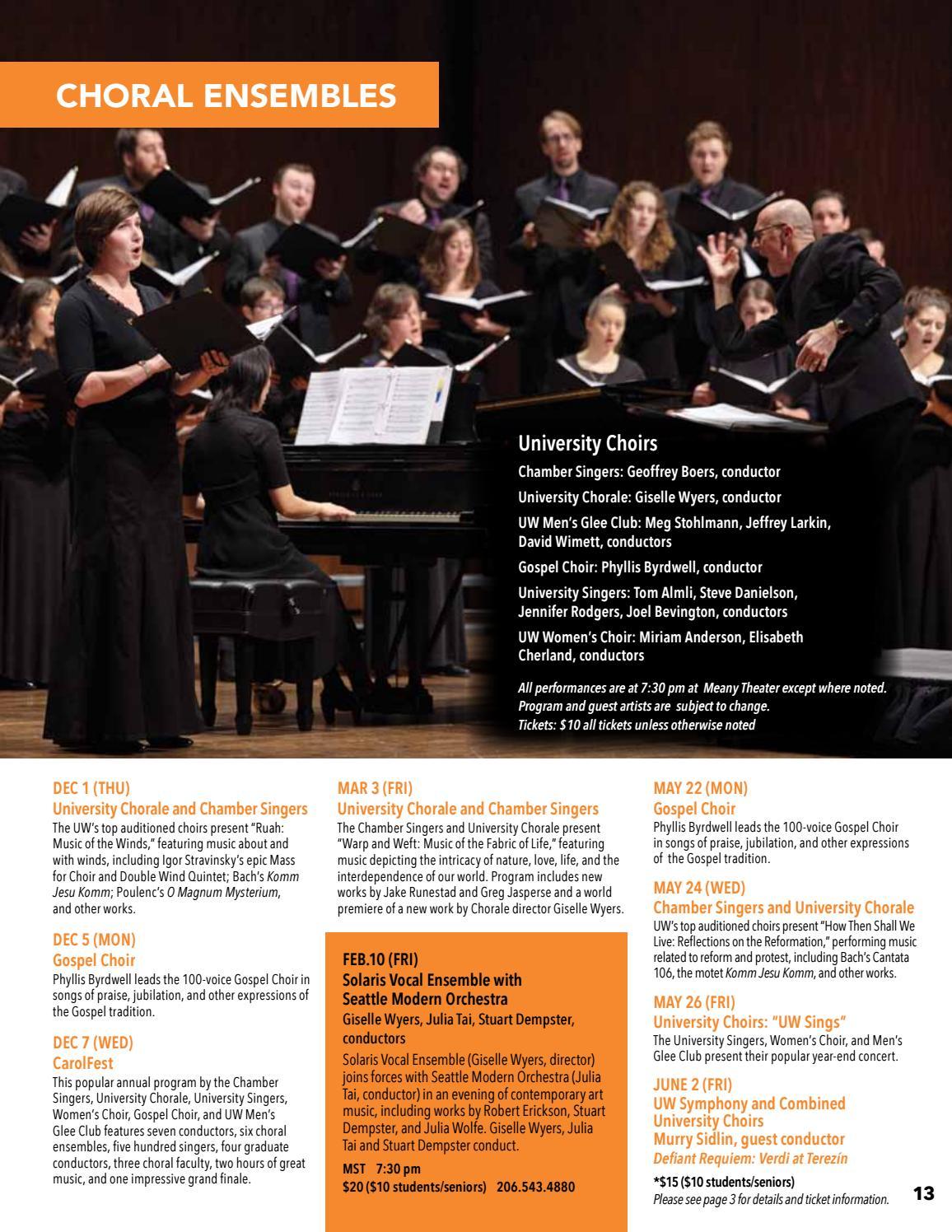 UW Music 2016 17 Concert Season by University of Washington