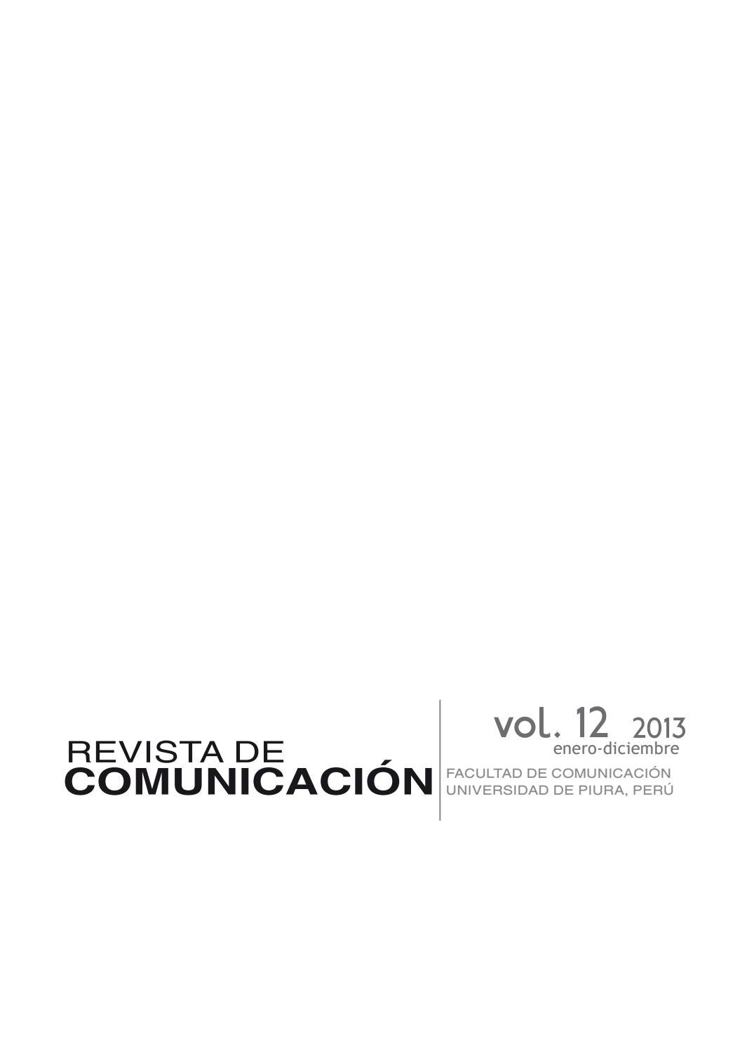 Revista de Comunicación vol. XII, 2013. Universidad de Piura by ...