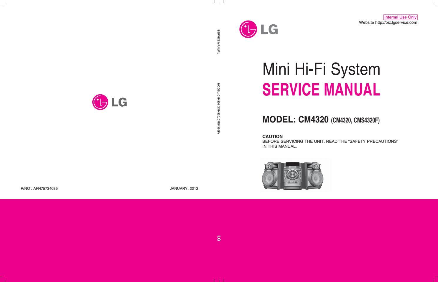 Manual De Servi U00e7o Mini System Lg Cm4320 By Portal Da
