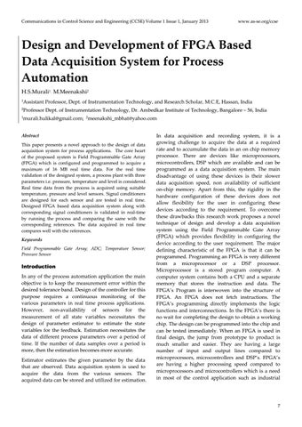 Design And Development Of Fpga Based Data Acquisition System For Process Automation By Co Sep Issuu