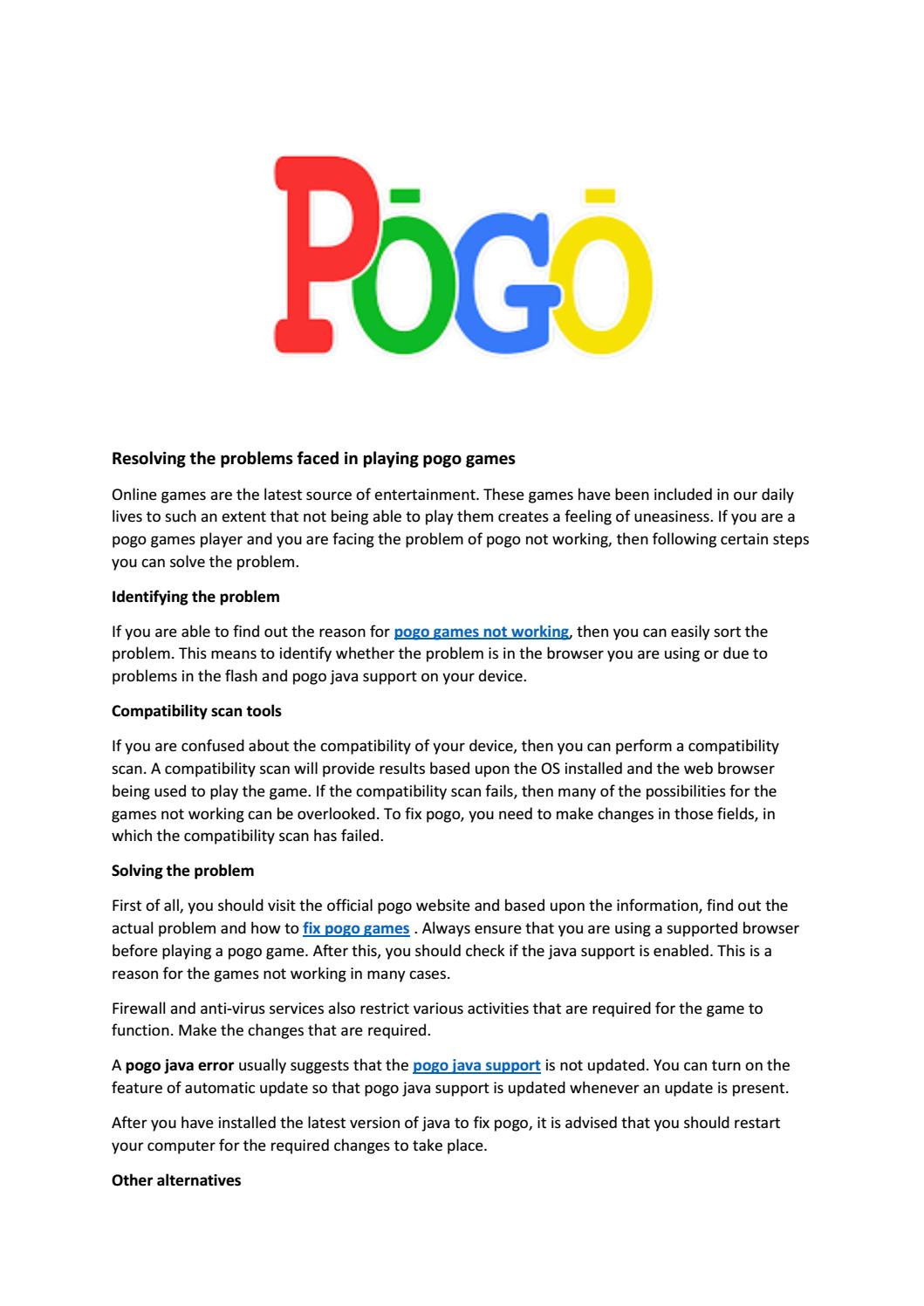Select best support for pogo games support,completed solve